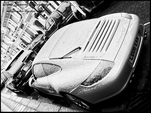 London Porsche Car in the Snow