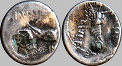 546/7 and 546/6 #10258-0 SCARPVS IMP CAESAR DIVI F open right hand Victory on globe plated 546-6, 546-7 hybrid Denarius