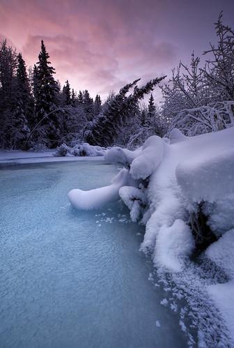 snow cold ice nature alaska creek sunrise landscape wilderness freezingwinter