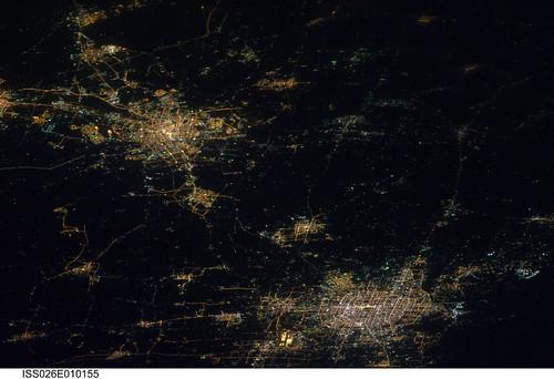 Beijing and Tianjin, China at Night (NASA, International Space Station, 12/14/10)