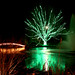 Silver Maple in Green Lights, with bridge, fountain and pond