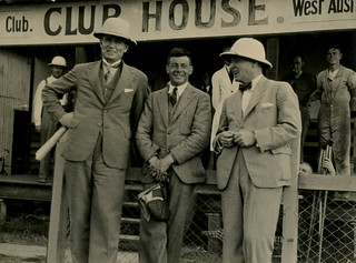 Arthur Butler outside a clubhouse at Maylands, 1931