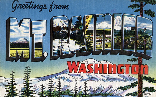 Greetings from Mt. Rainer, Washington - Large Letter Postcard