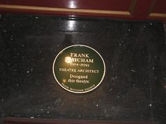 Photo of Frank Matcham green plaque
