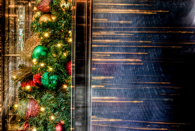 Christmas tree reflections at Harris Bank in Chicago