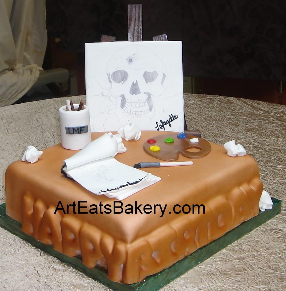 Custom Designed Fondant Artists Birthday Cake With Easel Pallette Paint Brushes Tablet