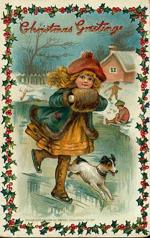 Little girl skating vintage victorian christmas postcard