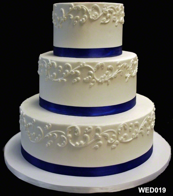 Wed019 3 Tier Round Wedding Cake With Scroll And Satin