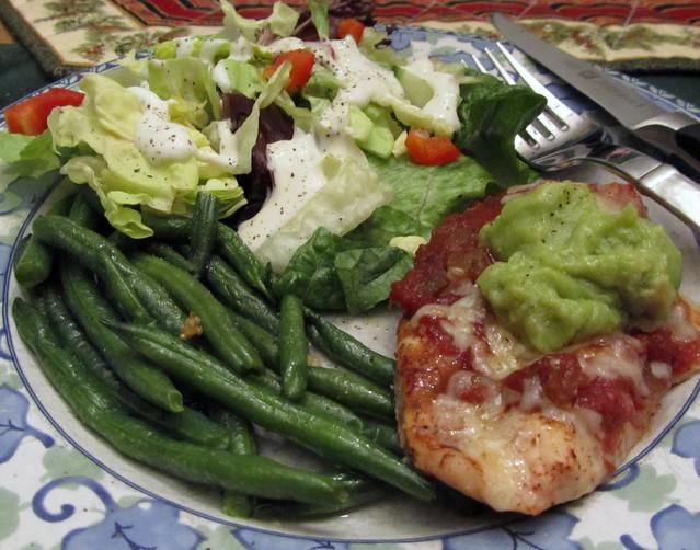 Salsa Cutlets w/ Garlicky Green Beans