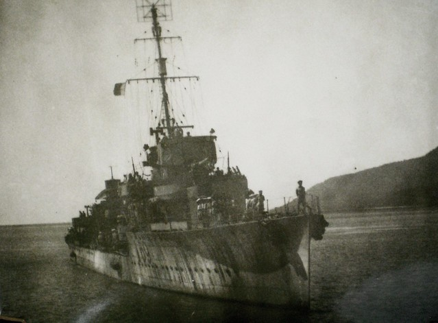 THE PACIFIC WAR: Old destroyer HMAS VENDETTA [I] in the islands - Collection of Alan Meade, RAN 1943-1946.
