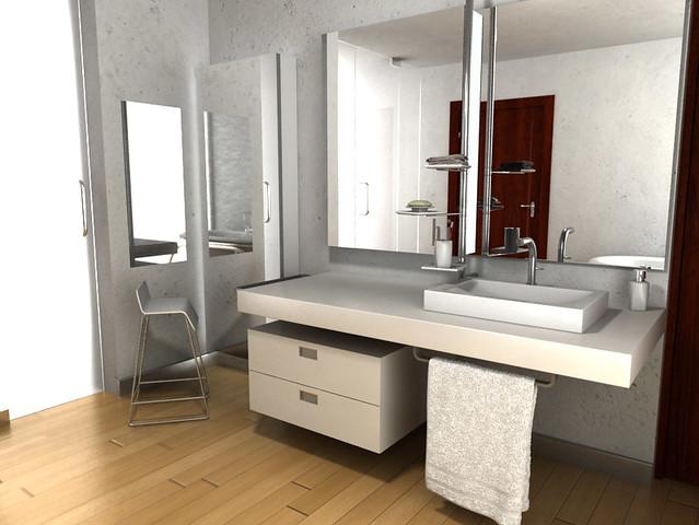 Dise o de mueble para lavabo empotrado espejo y for Espejos para banos modernos