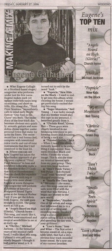 New Haven Register - January 27, 2006 - eugene feature - making a mix