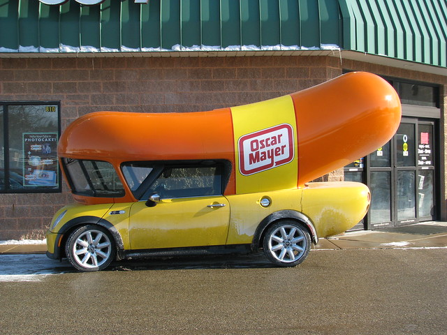 Total Sausage Party Pic additionally Oscar Mayer Wienermobile Crashes Pennsylvania also 645716 in addition Wienermobile Wrap Up A Giveaway as well Ads on wheels. on oscar mayer wienermobile mini cooper