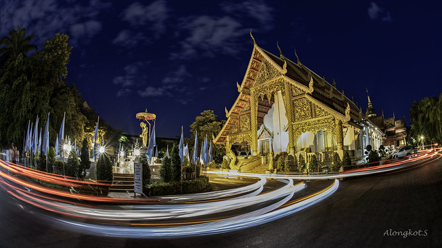 Phra Singh temple twilight time Viharn Lai Kam Wat Phra Singh is located in the western part of the old city center of Chiang Mai.