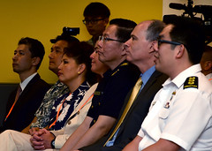 Distinguished attendees listen to the keynote address at the opening ceremony of exercise Deep Sabre 2016 at Changi Naval Base. (U.S. Navy/PO1 Micah Blechner)