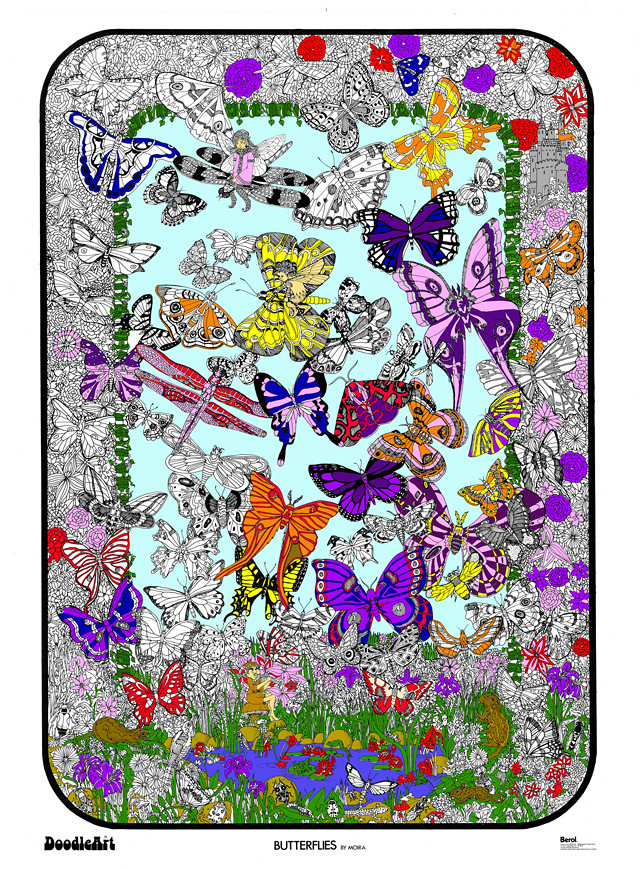 Doodle Art Butterflies Fairies Coloring Page Poster