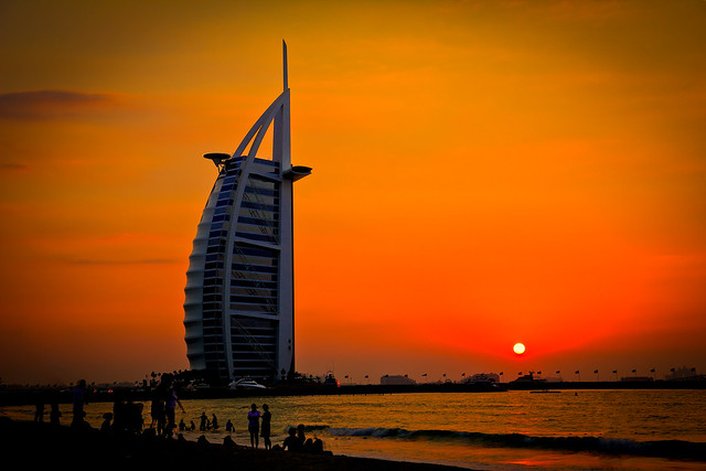 The Burj al-Arab, at sunset