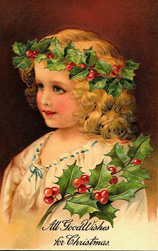 Vintage victorian holly christmas girl postcard the