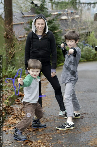 aunt megan is defended by her nephews, who have fashioned martial arts weapons from household implements   coat hangers and legos