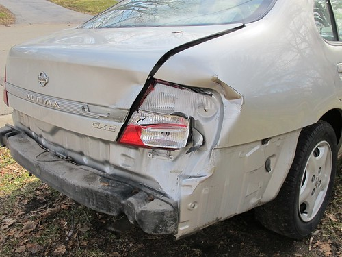 Car after being rear ended