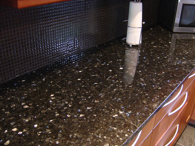 granite countertops with glass tile backsplash flickr