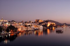 Lake Pichola at dusk, Udaipur, Rajasthan, India by hollyblake84