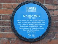 Photo of John Mills blue plaque