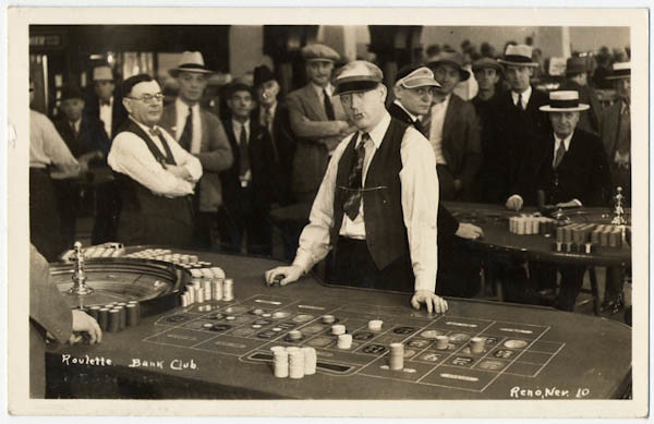 Roulette, Bank Club, Reno, Nevada, 1937. This dealer has an attitude!