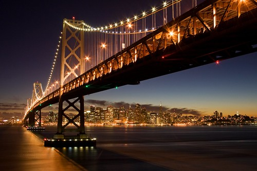 sanfrancisco california longexposure bridge light sunset water skyline night canon island lights oakland bay interestingness interesting lowlight flickr dusk baybridge bayarea bluehour yerbabuena explored