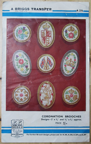 embroidered coronation brooches
