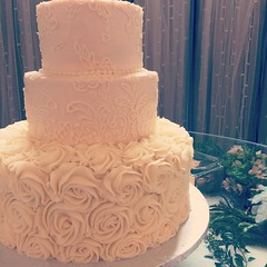#blush #lace and #rosettes in yummy #buttercream made a beautiful #weddingcake for our sweet #bride today. #uniquelysuperior #214eatcake #dallasbakery #dfwbakery #weddings #custombakery