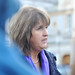 Deputy Joan Burton speaking to reporters on the plinth of the Dáil following the release of the Government's 4-year plan, she called it a bill for bill for 13 years of Fianna Fail Government