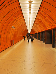 Walking in the subway station