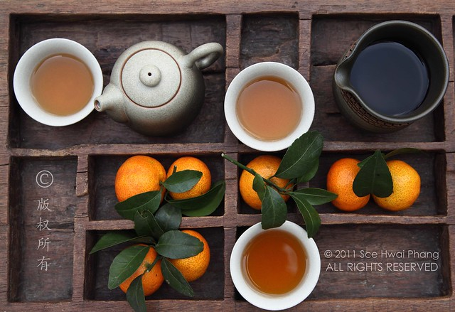 Chinese tea set with tangerines set in a century old hand carved wooden tray - Creative Still Life Photography