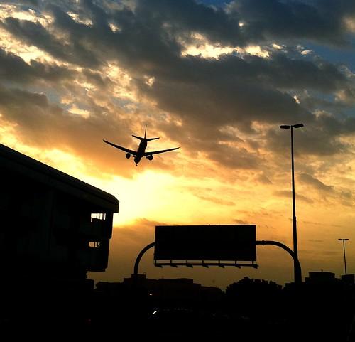 plane sunrise aircraft landing