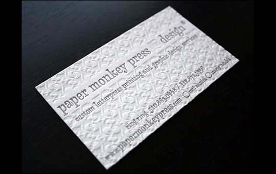 Paper Monkey Press's Letterpressed Business Card