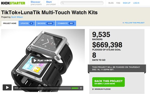 $600,000+ for iPod watch kit project - Kickstarter