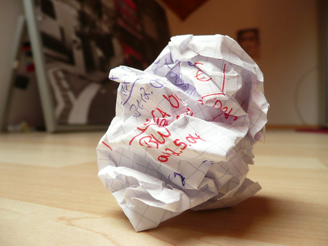 crushed paper - writer's block - crumpled paper with unfocused background from Flickr via Wylio