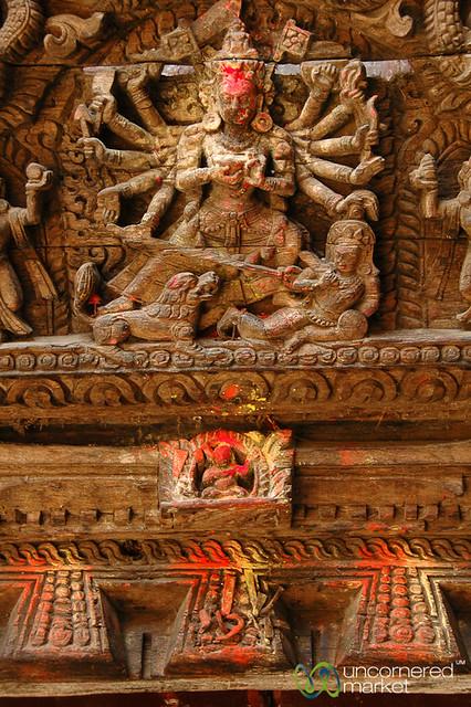 Details Along the Temples in Durbar Square - Kathmandu, Nepal