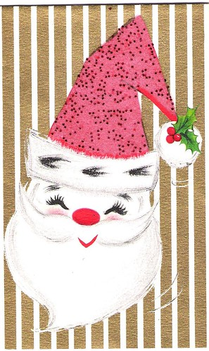 Vintage Pointy Hat Santa Christmas Card 1959