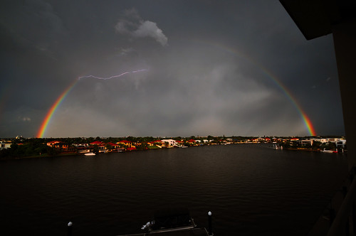 Rainbow with lightening.