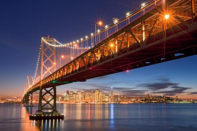 """Holiday Bay"" - San Francisco Bay Bridge Skyline"