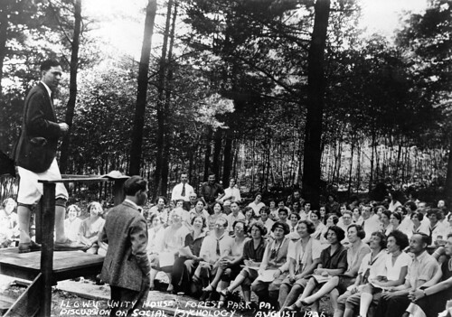 Lecture on social psychology given outdoors on Unity House grounds, August, 1926