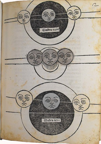Woodcut of eclipses in Paulus de Middelburgo: Prognosticon anni 1479