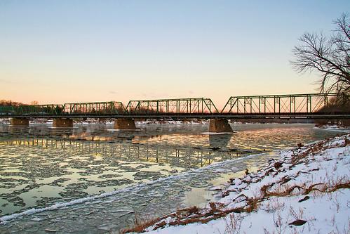 bridge water sunrise river delaware