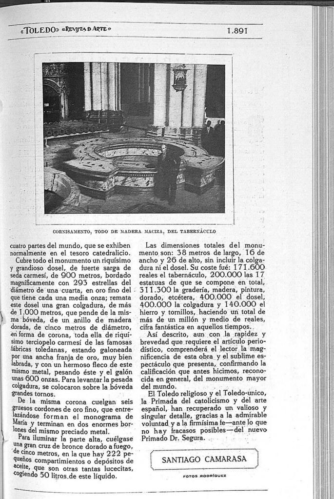 Reportaje sobre el Monumento de la Catedral de Toledo obra de Ignacio Haan publicado en abril de 1928 en la Revista Toledo. Página 5