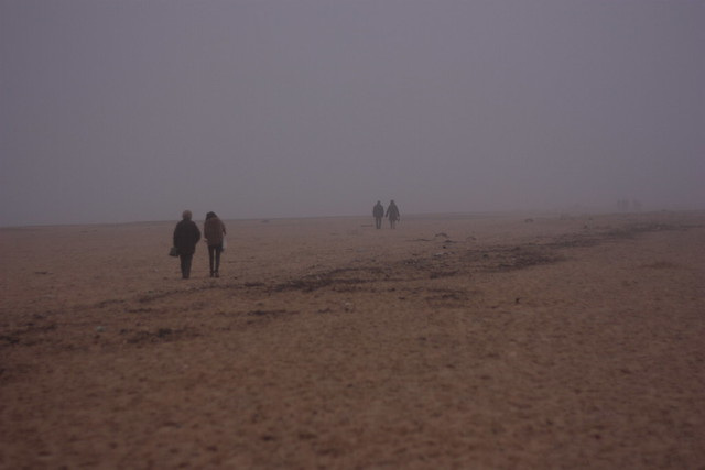 Walking on Southwold beach during the Christmas holidays