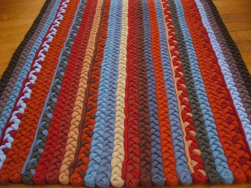 Colorful Braided Wool Rug w/pin stripes