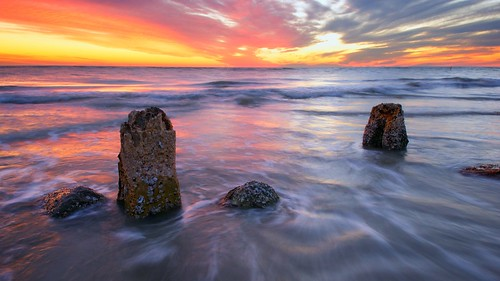 longexposure sunset sky beach water rock clouds evening pier rocks waves florida crash pillars remains hdr highdynamicrange johnspass pilling madeirabeach niksoftware andrewvernon coloreffectspro nikond300s aperture3