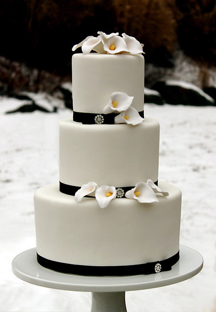 Calla Lilly Winter Wedding Cake by The Couture Cakery